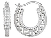 White Cubic Zirconia Rhodium Over Sterling Silver Hoop Earrings 3.18ctw