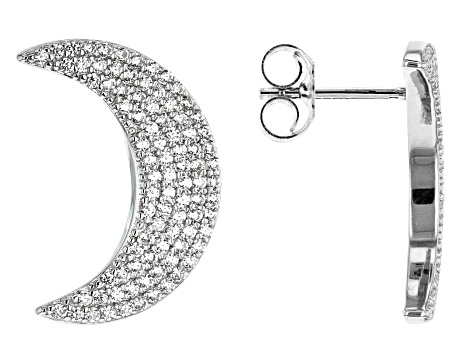 White Cubic Zirconia Rhodium Over Sterling Silver Moon Earrings 1.25ctw