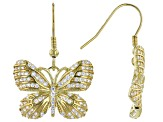 White Cubic Zirconia 18K Yellow Gold Over Sterling Silver Butterfly Earrings 1.31ctw