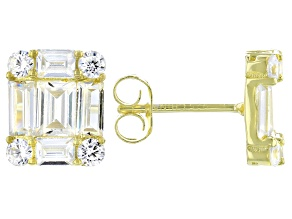 White Cubic Zirconia 18K Yellow Gold Over Sterling Silver Stud Earrings 3.79ctw