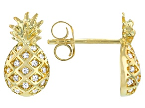 White Cubic Zirconia 18K Yellow Gold Over Sterling Silver Pineapple Earrings 0.24ctw