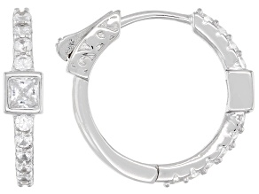 White Cubic Zirconia Rhodium Over Sterling Silver Hoop Earrings 1.42ctw