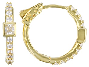 White Cubic Zirconia 18K Yellow Gold Over Sterling Silver Hoop Earrings 1.42ctw