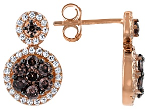 Brown And White Cubic Zirconia 18K Rose Gold Over Sterling Silver Earrings 1.86ctw
