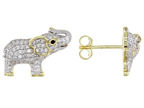 White And Black Cubic Zirconia 18K Yellow Gold Over Sterling Silver Elephant Earrings 1.30ctw