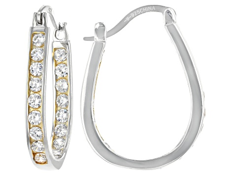 White Cubic Zirconia Rhodium And 14K Yellow Gold Over Sterling Silver Inside Out Hoops 3.75ctw
