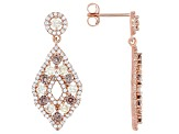 Champagne, Mocha, And White Cubic Zirconia 18K Rose Gold Over Sterling Silver Earrings 3.72ctw