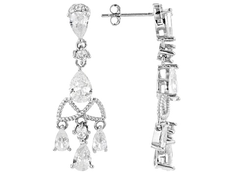 White Cubic Zirconia Rhodium Over Sterling Silver Earrings 5.28ctw