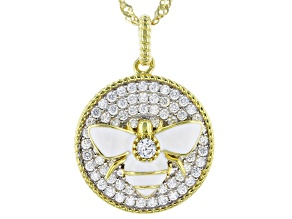 White Cubic Zirconia 18K Yellow Gold Over Sterling Silver Bee Pendant With Chain 0.84ctw