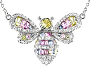 Multi Color Cubic Zirconia Rhodium Over Silver Bee Necklace 2.44ctw