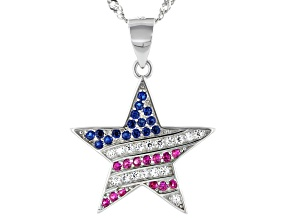 White Cubic Zirconia, Lab Blue Spinel, And Red Lab Ruby Rhodium Over Silver Pendant
