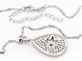 White Cubic Zirconia Rhodium And 14K Yellow Gold Over Silver Star Pendant With Chain 1.23ctw