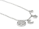 White Cubic Zirconia Rhodium Over Sterling Silver Moon And Star Necklace 0.75ctw
