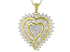 White Cubic Zirconia 18K Yellow Gold Over Sterling Silver Heart Pendant With Chain 3.49ctw
