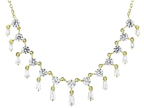 White Cubic Zirconia 18K Yellow Gold Over Sterling Silver Necklace 6.94ctw