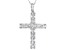 White Cubic Zirconia Rhodium Over Sterling Silver Cross Pendant With Chain 3.51ctw