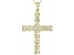 White Cubic Zirconia 18K Yellow Gold Over Sterling Silver Cross Pendant With Chain 3.51ctw