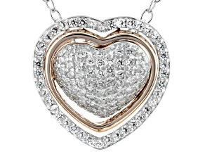 White Cubic Zirconia Rhodium And 14K Rose Gold Over Silver Heart Pendant With Chain 0.85ctw