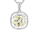Yellow And White Cubic Zirconia Rhodium Over Sterling Silver Pendant With Chain 6.39ctw