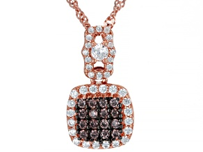 Brown And White Cubic Zirconia 18K Rose Gold Over Sterling Silver Pendant With Chain 0.80ctw