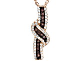 Brown And White Cubic Zirconia 18K Rose Gold Over Sterling Silver Pendant With Chain 0.81ctw