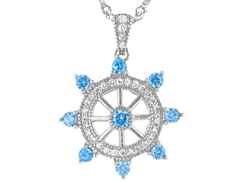 Blue And White Cubic Zirconia Rhodium Over Sterling Silver Pendant With Chain 1.41ctw