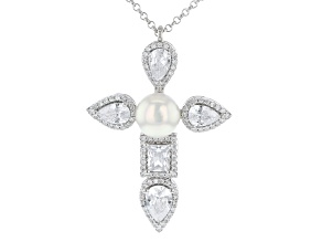 White Cubic Zirconia Rhodium Over Silver Necklace 5.09ctw