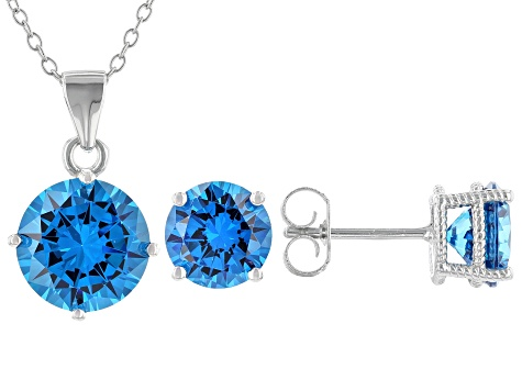 Blue Cubic Zirconia Rhodium Over Sterling Silver Earring And Pendant With Chain 16.26ctw
