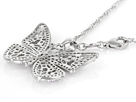 White Cubic Zirconia Rhodium Over Sterling Silver Butterfly Pendant With Chain 2.16ctw