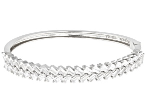 White Cubic Zirconia Rhodium Over Sterling Silver Bangle Bracelet 6.10ctw