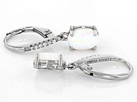 White Cubic Ziirconia And White Created Opal Rhodium Over Sterling Silver Earrings 1.02ctw