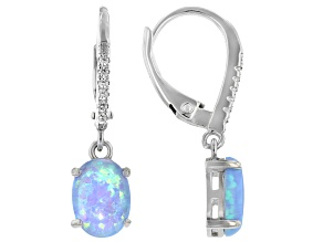 Blue Lab Created Opal And White Cubic Zirconia Rhodium Over Sterling Silver Earrings 1.02ctw