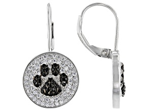 White And Black Cubic Zirconia Rhodium Over Sterling Silver Earrings 1.32ctw