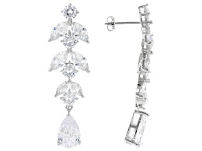 White Cubic Zirconia Rhodium Over Sterling Silver Earrings 16.55ctw