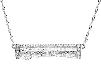 Picture of White Cubic Zirconia Rhodium Over Sterling Silver Necklace 7.00ctw