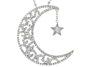 White Cubic Zirconia Rhodium Over Sterling Silver Moon And Star Necklace 1.91ctw