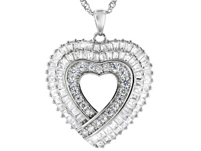 White Cubic Zirconia Rhodium Over Sterling Silver Heart Pendant With Chain 2.83ctw
