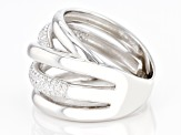 White Cubic Zirconia Rhodium Over Sterling Silver Ring 0.55ctw
