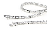 White Cubic Zirconia Rhodium Over Sterling Silver Tennis Necklace 25.03ctw