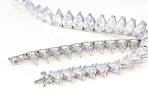 White Cubic Zirconia Rhodium Over Sterling Silver Necklace 129.60ctw