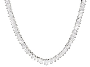 White Cubic Zirconia Rhodium Over Sterling Silver Necklace 58.17ctw