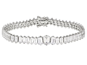 White Cubic Zirconia Rhodium Over Sterling Silver Tennis Bracelet 24.15ctw