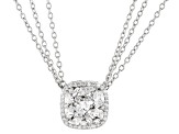 White Cubic Zirconia Rhodium Over Sterling Silver Pendant With Chain 4.59ctw