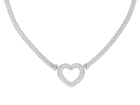 White Cubic Zirconia Rhodium Over Sterling Silver Heart Necklace 2.03ctw