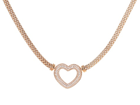 White Cubic Zirconia 18k Rose Gold Over Sterling Silver Heart Necklace 2.03ctw