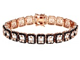 White And Mocha Cubic Zirconia 18K Rose Gold Over Sterling Silver Tennis Bracelet 13.10ctw