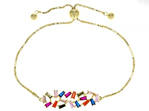 Multi Color Cubic Zirconia,Lab Created Ruby,Lab Created Spinel 18K Yellow Gold Over Silver Bracelet