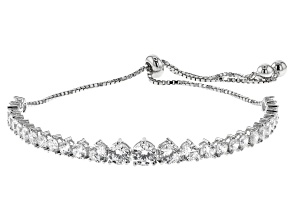 White Cubic Zirconia Rhodium Over Sterling Silver Adjustable Bracelet 7.11ctw