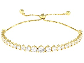 White Cubic Zirconia 18K Yellow Gold Over Sterling Silver Adjustable Bracelet 7.11ctw