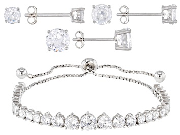 Picture of White Cubic Zirconia Rhodium Over Sterling Silver Adjustable Bracelet and Stud Earring Set 11.81ctw
